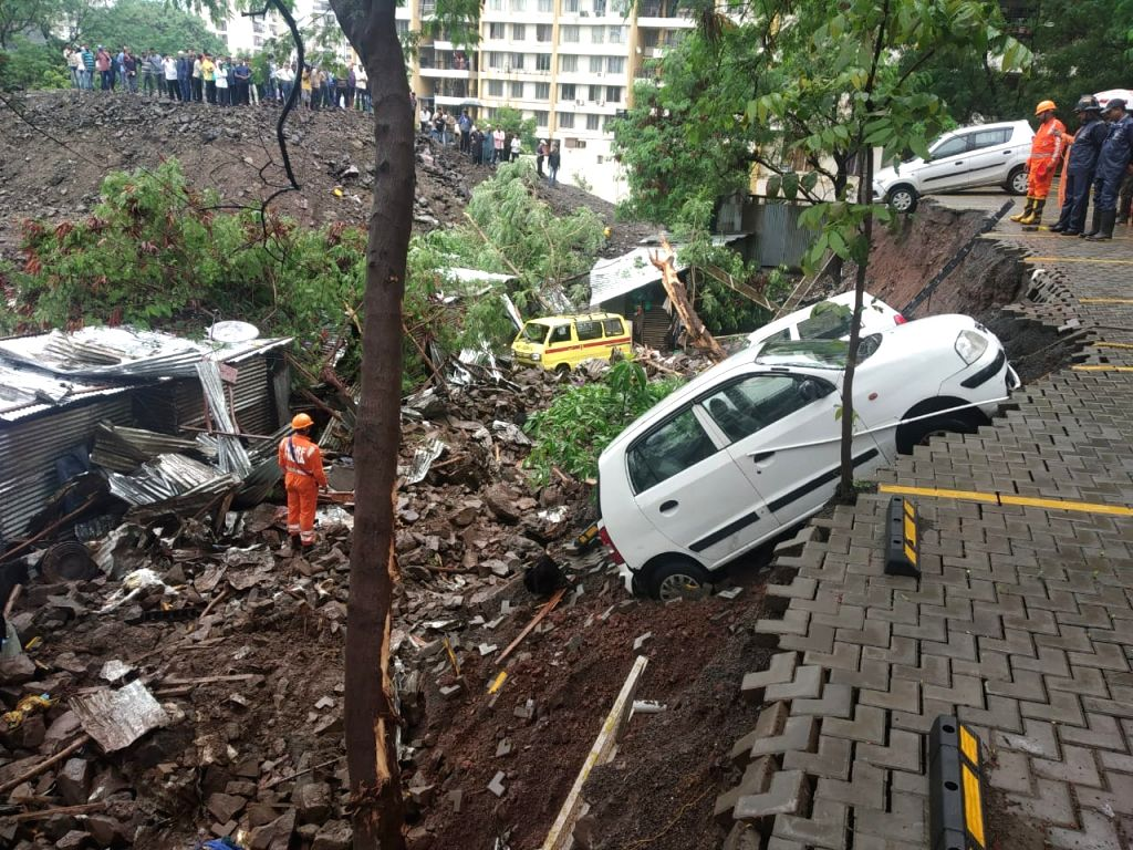 Pune: The site where a compound wall of a posh building collapsed at Kondwa in Maharashtra's Pune on June 29, 2019. At least 15 people, mostly hailing from West Bengal and Bihar, were killed in the incident. Taking a grim view of the tragedy, Chief M - Devendra Fadnavis