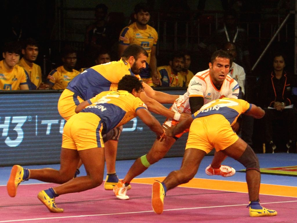 Puneri Paltan All Rounder Sandeep Narwal during a Pro Kabaddi League 2017 match between Puneri Paltan and Tamil Thalaivas in Chennai, on Sept 29, 2017.