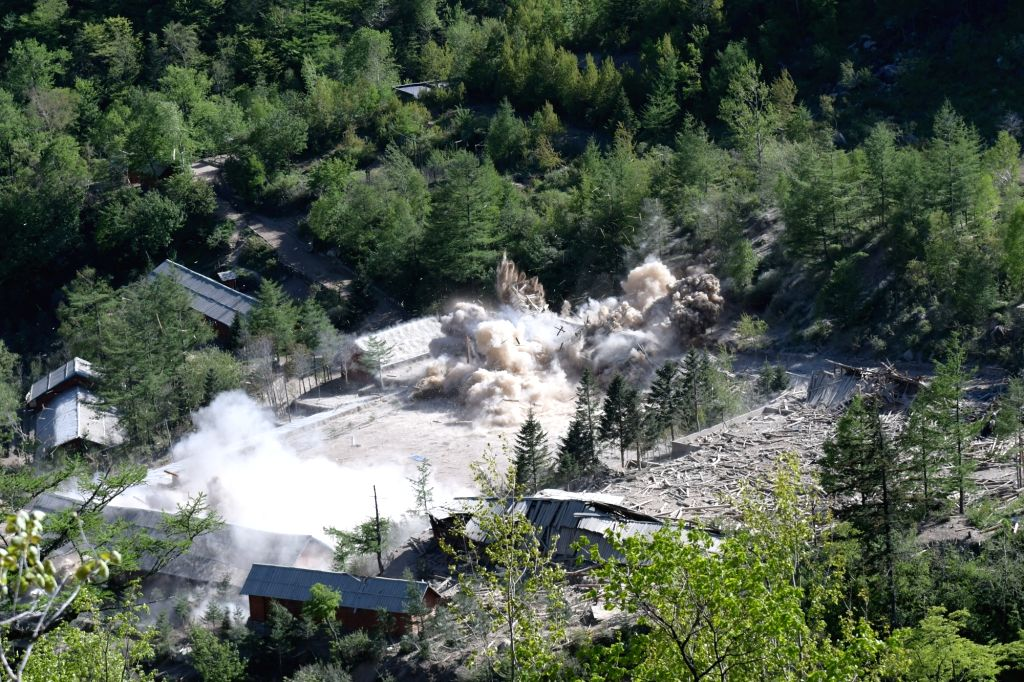 PUNGGYE-RI (DPRK), May 24, 2018 Photo taken on May 24, 2018 shows explosions at the nuclear test site of Punggye-ri, the Democratic People's Republic of Korea. The Democratic People's ...