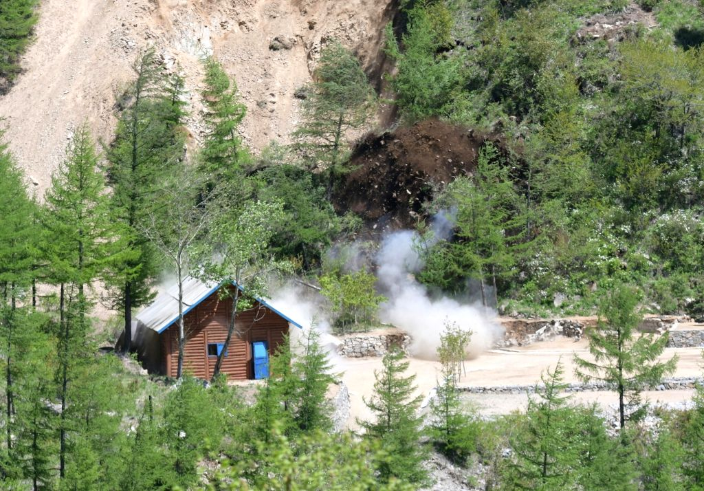 PUNGGYE-RI (DPRK), May 24, 2018 Photo taken on May 24, 2018 shows explosions of the No. 2 tunnel at the nuclear test site of Punggye-ri, the Democratic People's Republic of Korea. The ...