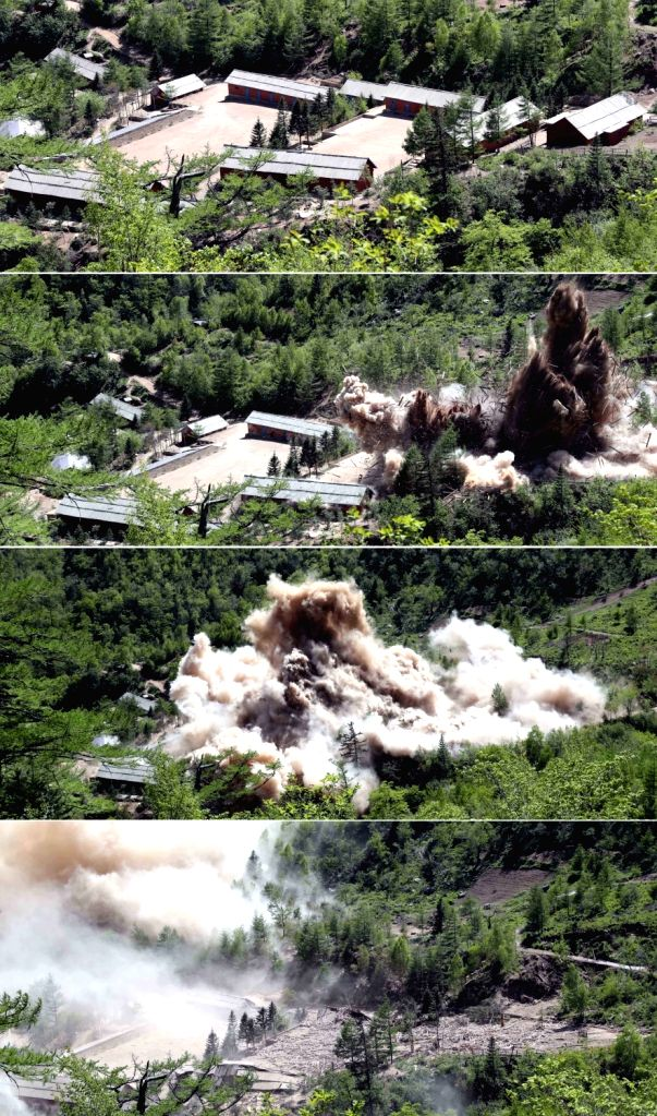 Punggye-ri: The control center and barracks for construction workers at North Korea's only known nuclear test site, Punggye-ri, is blown up on May 24, 2018, in this press pool photo. South Korean ...