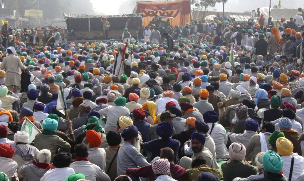 Punjab and Haryana during   A  protest against kisaan Bill at Sindhu Boder in New Delhi on Wednesday