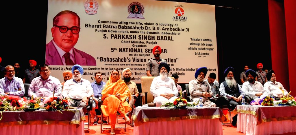 Punjab Assembly speaker Charanjit Singh Atwal, Punjab Chief Minister Parkash Singh Badal and Union Cabinet Minister for Food Processing Harsimrat Kaur Badal during a programme organised to ... - Charanjit Singh Atwal and Parkash Singh Badal