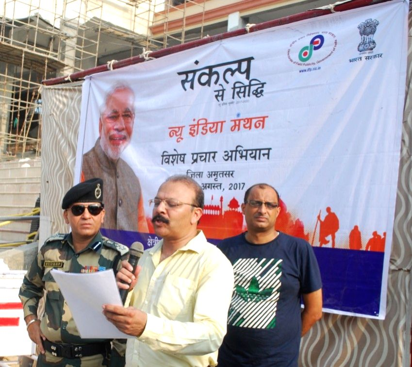 (Punjab): Border Security Force, Punjab Frontiers, Inspector General Mukul Goel addresses at the retreat ceremony of New India 'Sankalp Se Siddhi' pledge at Hussainiwala Border in ...