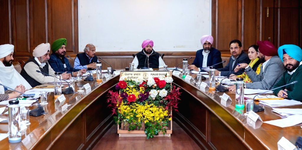 Punjab Chief Minister Amarinder Singh chairs a cabinet meeting at Punjab Bhawan in Chandigarh, on Dec 4, 2019. - Amarinder Singh