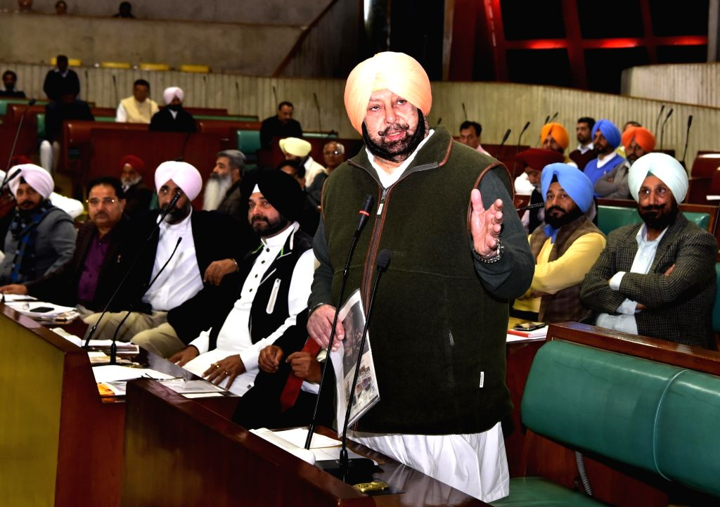 Punjab Chief Minister Amarinder Singh moves a resolution in the state assembly condemning suicide attack on CRPF convoy in Jammu and Kashmir's Pulwama; in Chandigarh on Feb 15, 2019. - Amarinder Singh