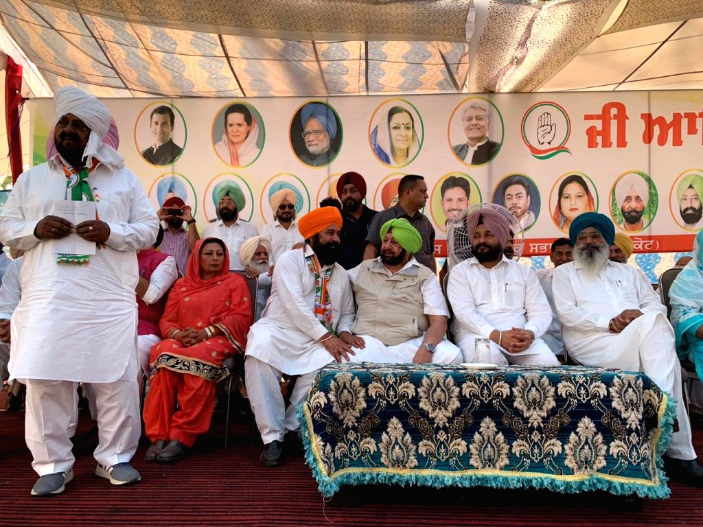 Punjab Chief Minister and Captain Amarinder Singh at a public rally ahead of the 2019 Lok Sabha elections, in Punjab's Faridkot, on April 24, 2019. - Amarinder Singh
