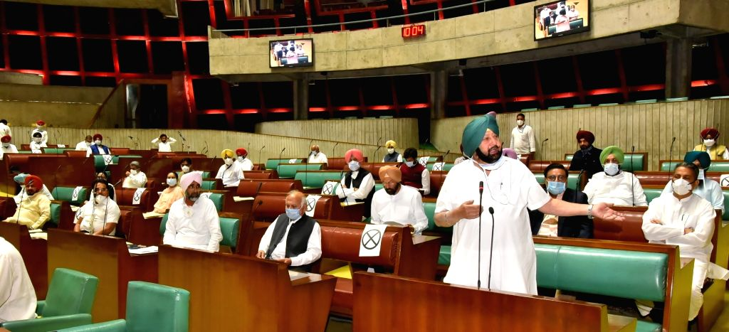 Punjab Chief Minister Captain Amarinder Singh speaks during the second day of the Special State Assembly Session, in Chandigarh on Oct 20, 2020. - Captain Amarinder Singh