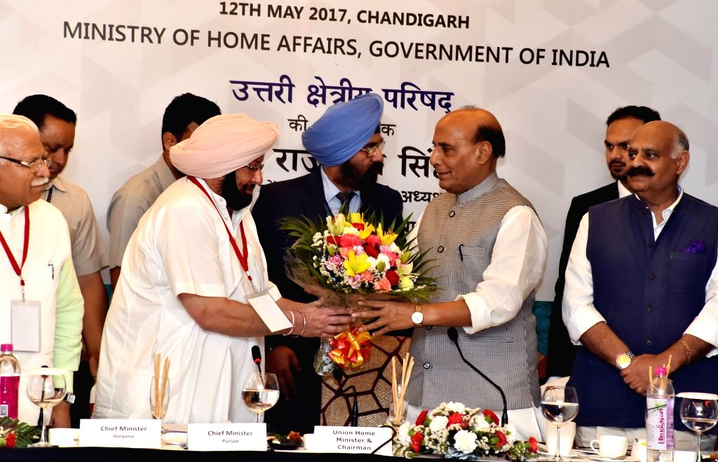Punjab Chief Minister Captain Amarinder Singh greets Union Home Minister Rajnath Singh during Northern Zonal Council (NZC) meeting in Chandigarh on May 12, 2017. (Photo: IANS) - Captain Amarinder Singh and Rajnath Singh