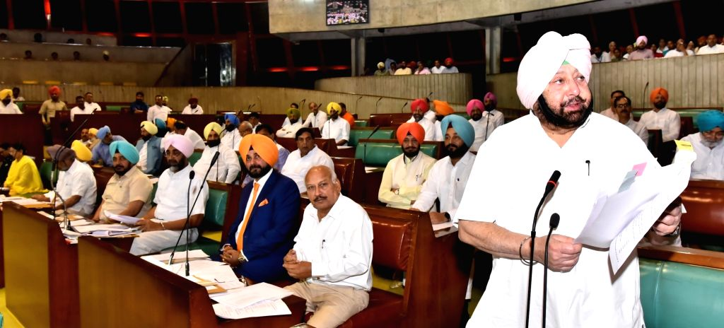 Punjab Chief Minister Captain Amarinder Singh addresses at the State Assembly in Chandigarh on June 22, 2017. - Captain Amarinder Singh