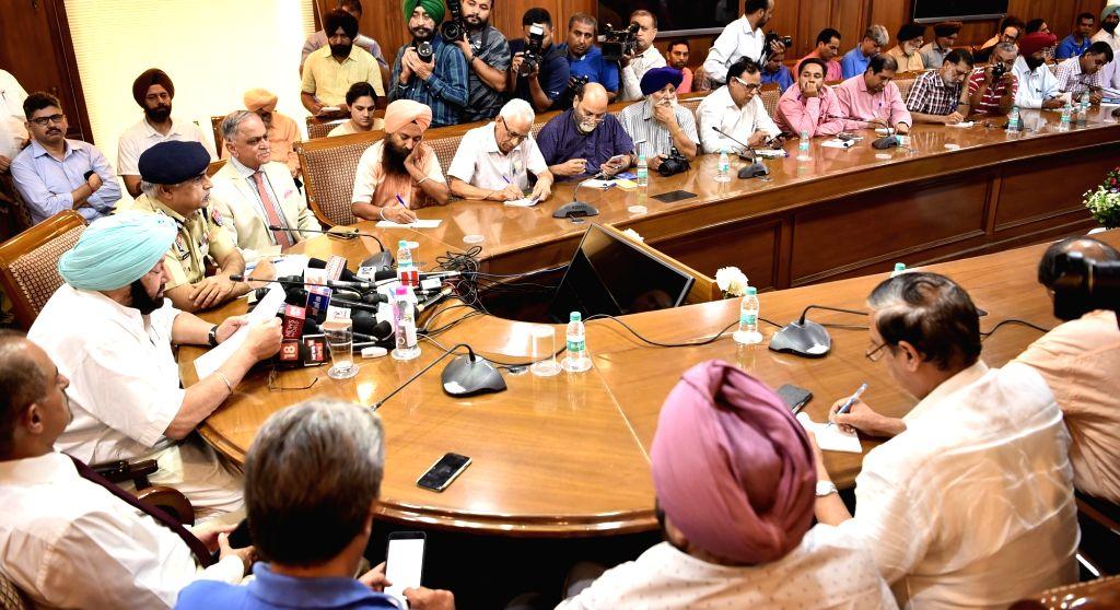 Punjab Chief Minister Captain Amarinder Singh talks to press in Chandigarh, on July 4, 2017. - Captain Amarinder Singh