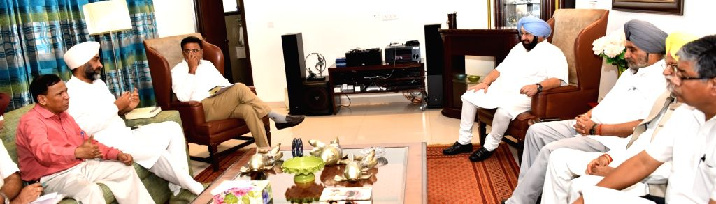 Punjab Chief Minister Captain Amarinder Singh during a meeting in Chandigarh, on Aug 1, 2017. - Captain Amarinder Singh