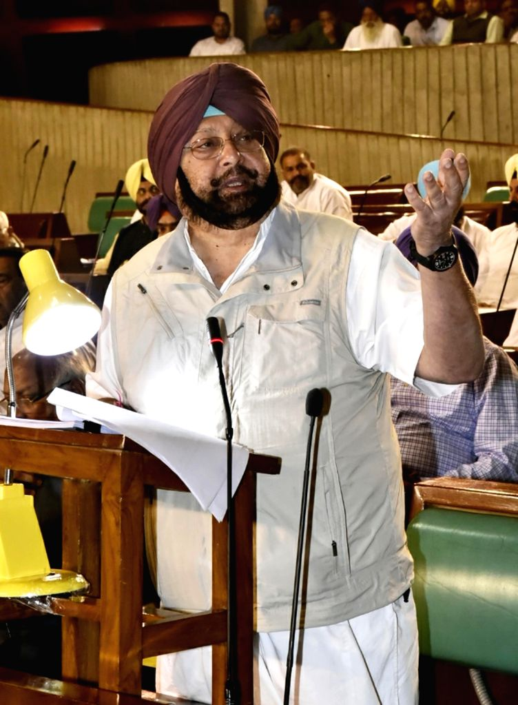 Punjab Chief Minister Captain Amarinder Singh addresses at the state assembly in Chandigarh on March 27, 2018. - Captain Amarinder Singh