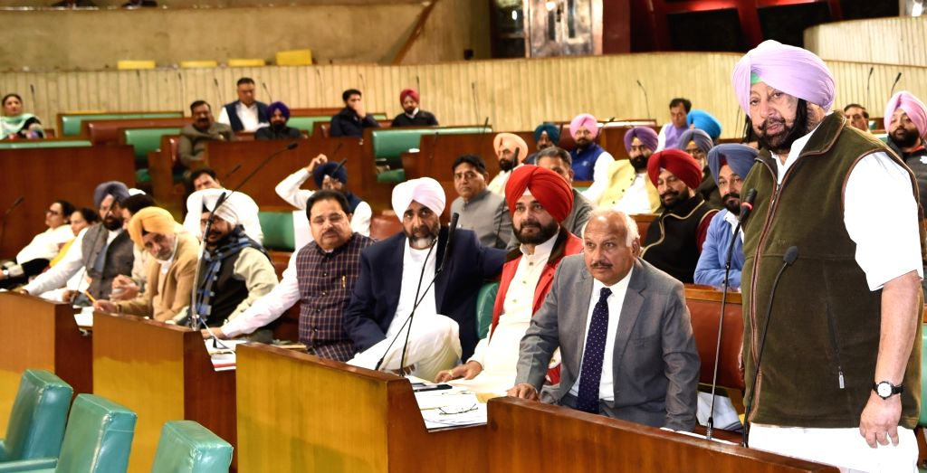 Punjab Chief Minister Captain Amarinder Singh addresses at state assembly in Chandigarh on Dec 14, 2018. - Captain Amarinder Singh