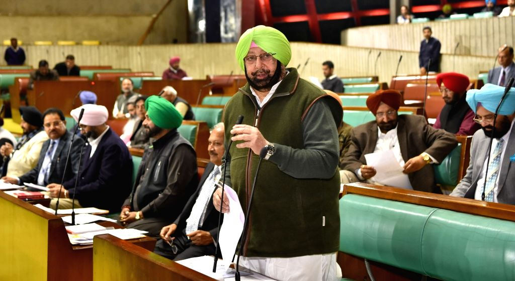 Punjab Chief Minister Captain Amarinder Singh addresses in the state assembly during budget session in Chandigarh, on Feb 13, 2019. - Captain Amarinder Singh