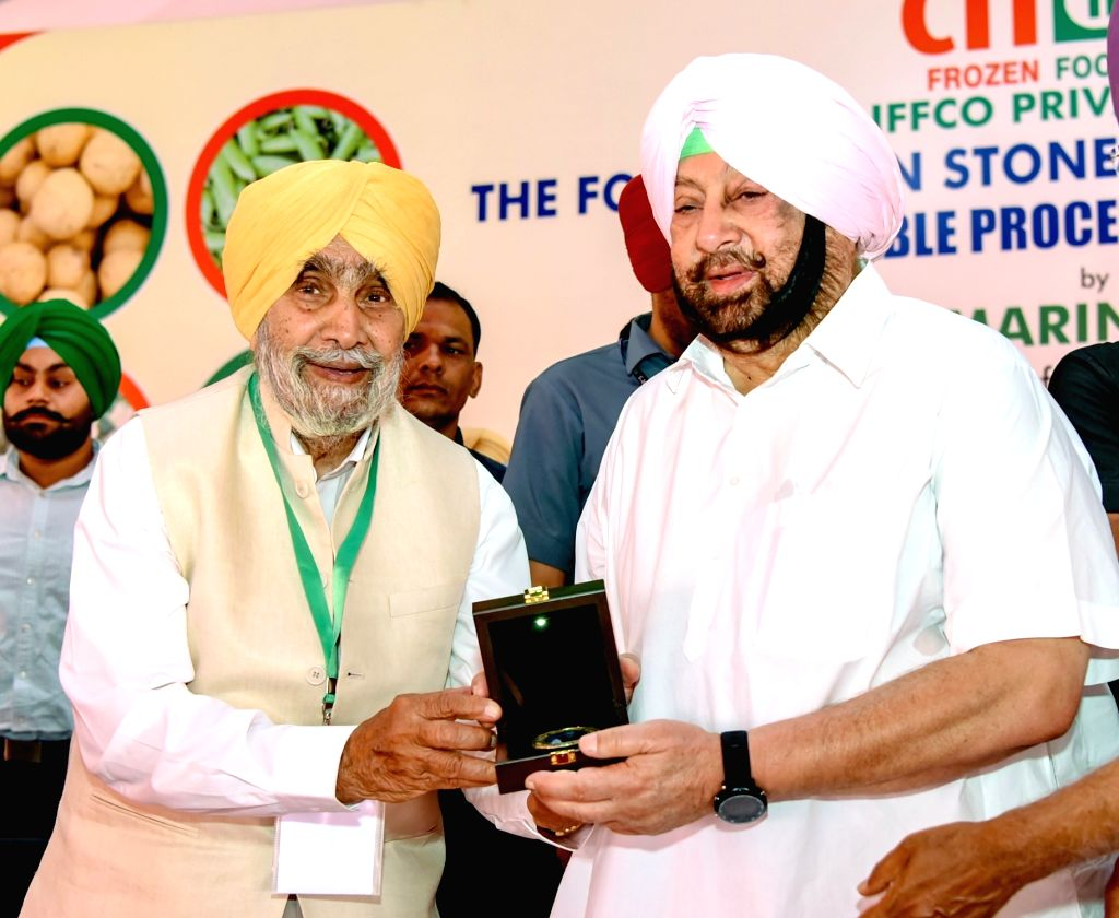 Punjab Chief Minister Captain Amarinder Singh with IFFCO Chairman B. S. Nakai at the foundation stone laying ceremony of a vegetable processing project in Punjab's Ludhiana, on May 30, 2019. - Captain Amarinder Singh
