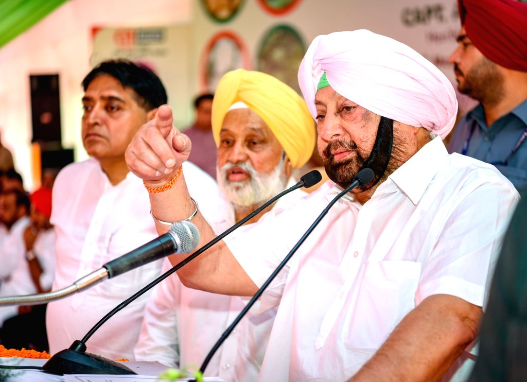 Punjab Chief Minister Captain Amarinder Singh addresses at the foundation stone laying ceremony of a vegetable processing project in Punjab's Ludhiana, on May 30, 2019. - Captain Amarinder Singh