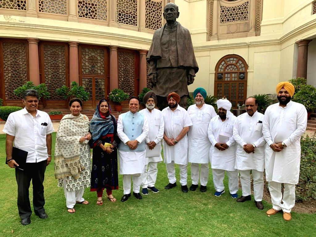 Punjab Chief Minister Captain Amarinder Singh meets the state's Congress Lok Sabha MPs, at Parliament in New Delhi on July 16, 2019. - Captain Amarinder Singh