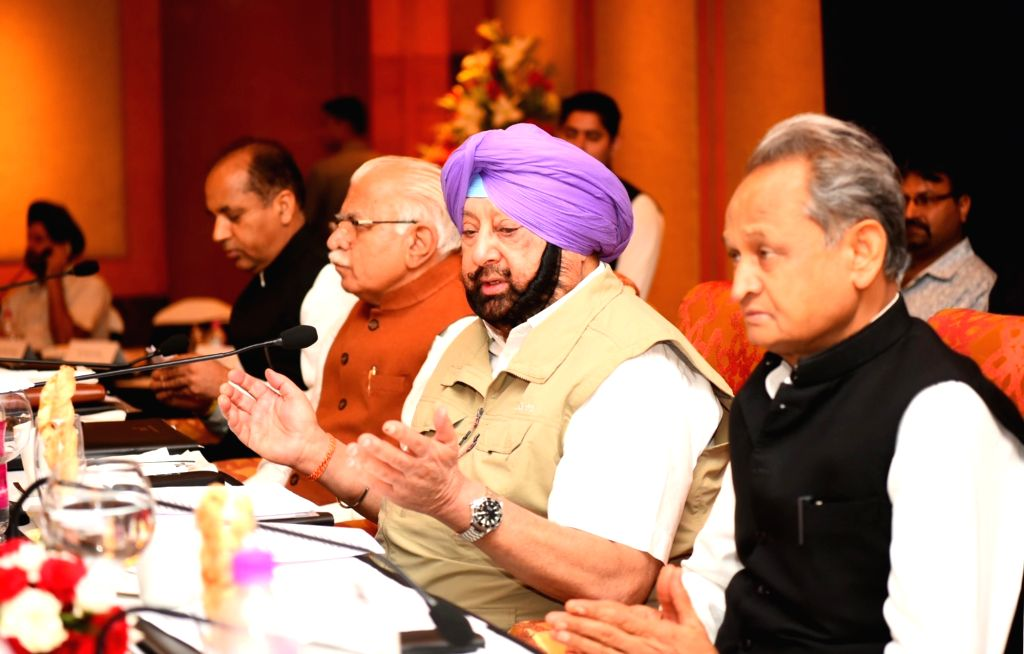 Punjab Chief Minister Captain Amarinder Singh addresses during the 2nd Regional Conference on Drug Menace ??? Challenges and Strategies in Chandigarh, on July 25, 2019. Also seen Chief ... - Captain Amarinder Singh and Manohar Lal Khattar