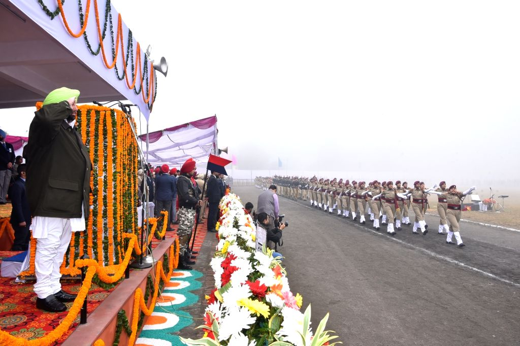 Punjab Chief Minister Captain Amarinder Singh takes salute from the march past during the 71st Republic Day parade in SAS Nagar district on Jan 26, 2020. - Captain Amarinder Singh