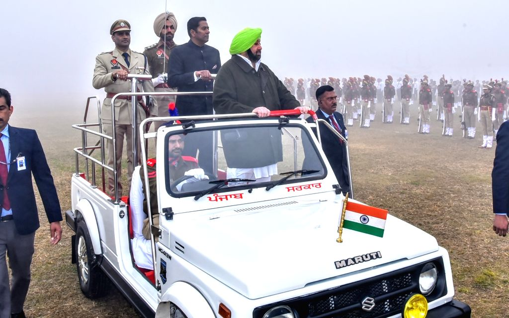 Punjab Chief Minister Captain Amarinder Singh inspects the 71st Republic Day parade in SAS Nagar district on Jan 26, 2020. - Captain Amarinder Singh