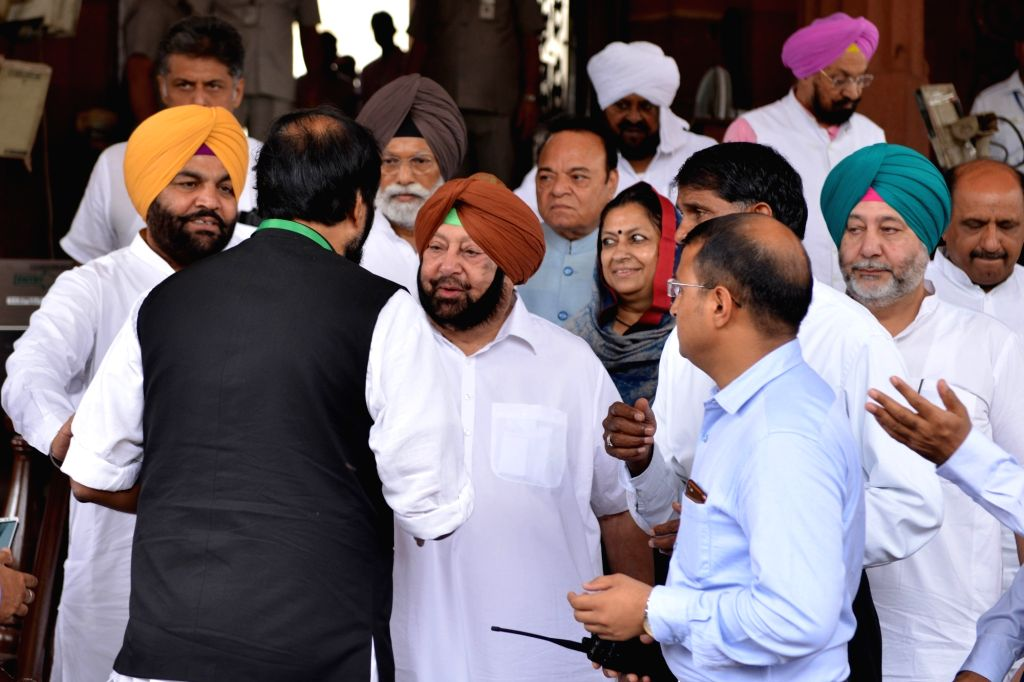 Punjab Chief Minister Captain Amarinder Singh and Congress MP Gurjeet Singh Aujla at Parliament, in New Delhi on July 16, 2019. - Captain Amarinder Singh and Gurjeet Singh Aujla