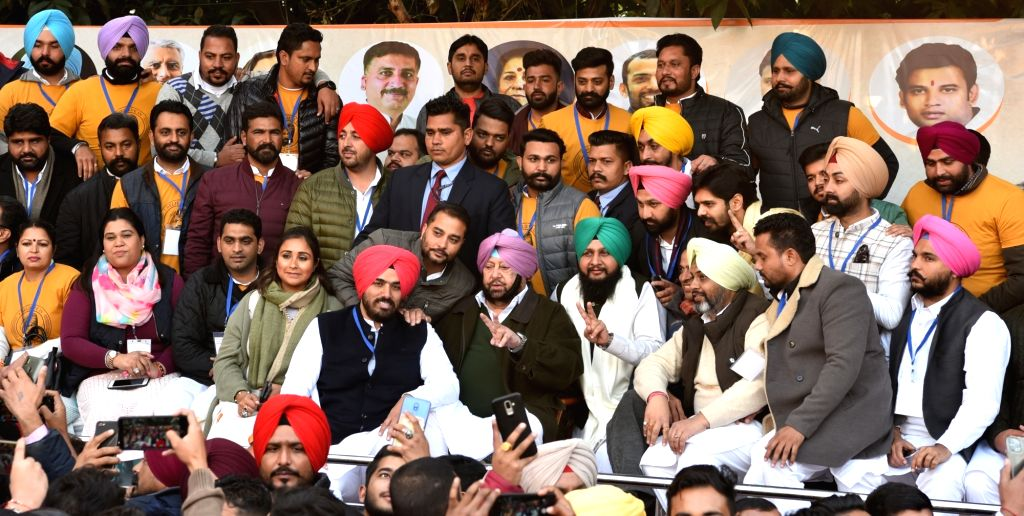 Punjab Chief Minister Captain Amarinder Singh the installation ceremony of Congress youth wing's newly elected office-bearers at the Congress Bhavan in Chandigarh on Jan 9, 2020. - Captain Amarinder Singh