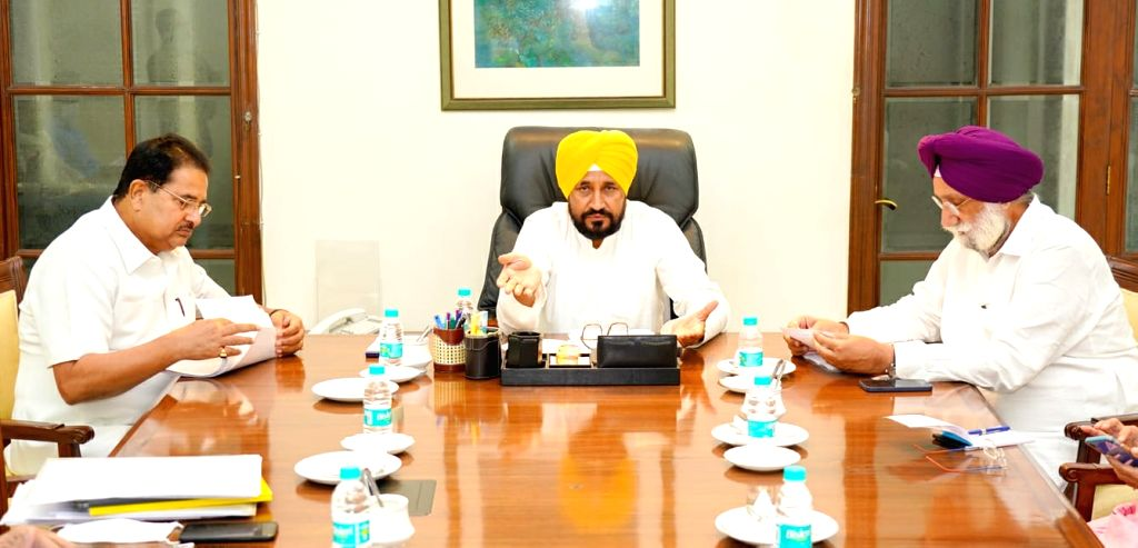 Punjab Chief Minister Charanjit Singh Channi charging the first Cabinet meeting in Chandigarh. - Charanjit Singh Channi