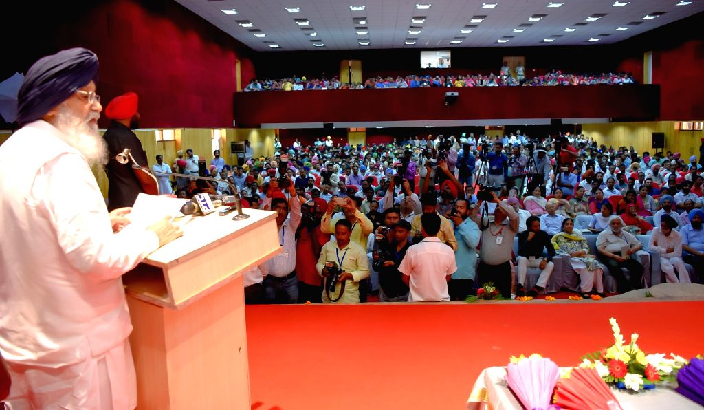 Punjab Chief Minister Parkash Singh Badal addresses during a programme organised to  commemorate 125th birth anniversary of Dr. BR Ambedkar in Bathinda on Oct 7. 2016. - Parkash Singh Badal