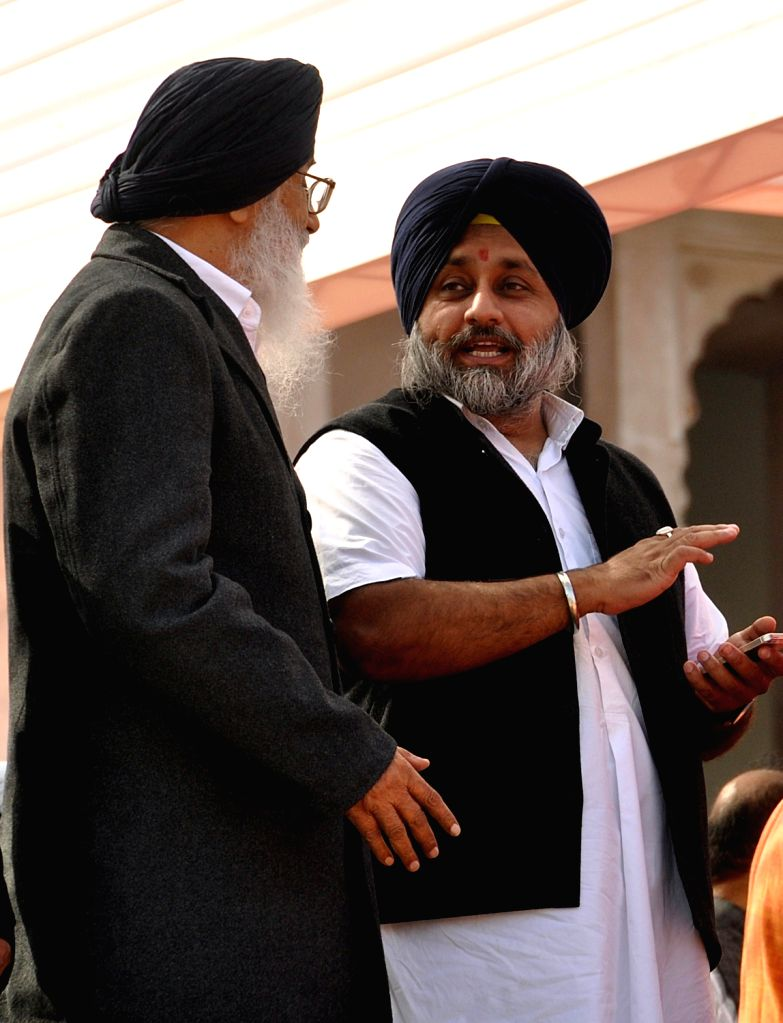 Punjab Chief Minister Parkash Singh Badal and Punjab Deputy Chief Minister Sukhbir Singh Badal  during swearing-in ceremony of newly elected Rajasthan Chief Minister Vasundhara Raje at Rajasthan ... - Parkash Singh Badal and Sukhbir Singh Badal