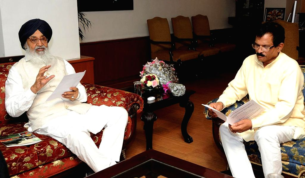 Punjab Chief Minister Parkash Singh Badal during a meeting with MoS Culture (Independent Charge) and Tourism (Independent Charge) Shripad Yesso Naik in New Delhi on July 9, 2014. - Parkash Singh Badal
