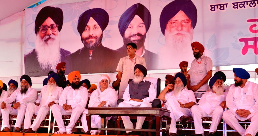 Punjab Chief Minister Parkash Singh Badal during a rally organised during Rakhar Punia fair at Baba Bakal, near Amritsar  on Aug 10, 2014.