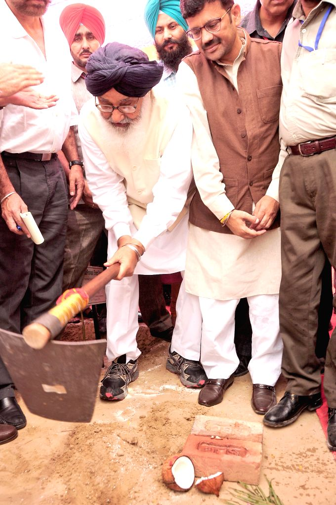 Punjab Chief Minister Parkash Singh Badal during the ground breaking ceremony of the main campus of Central University of Punjab at Ghudda on Aug 17, 2015. - Parkash Singh Badal