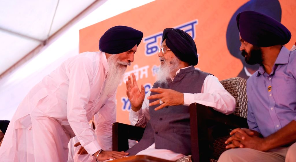 Punjab Chief Minister Parkash Singh Badal during a Shiromani Akali Dal rally at village Chapaar in Ludhiana on Sept 16, 2016. - Parkash Singh Badal