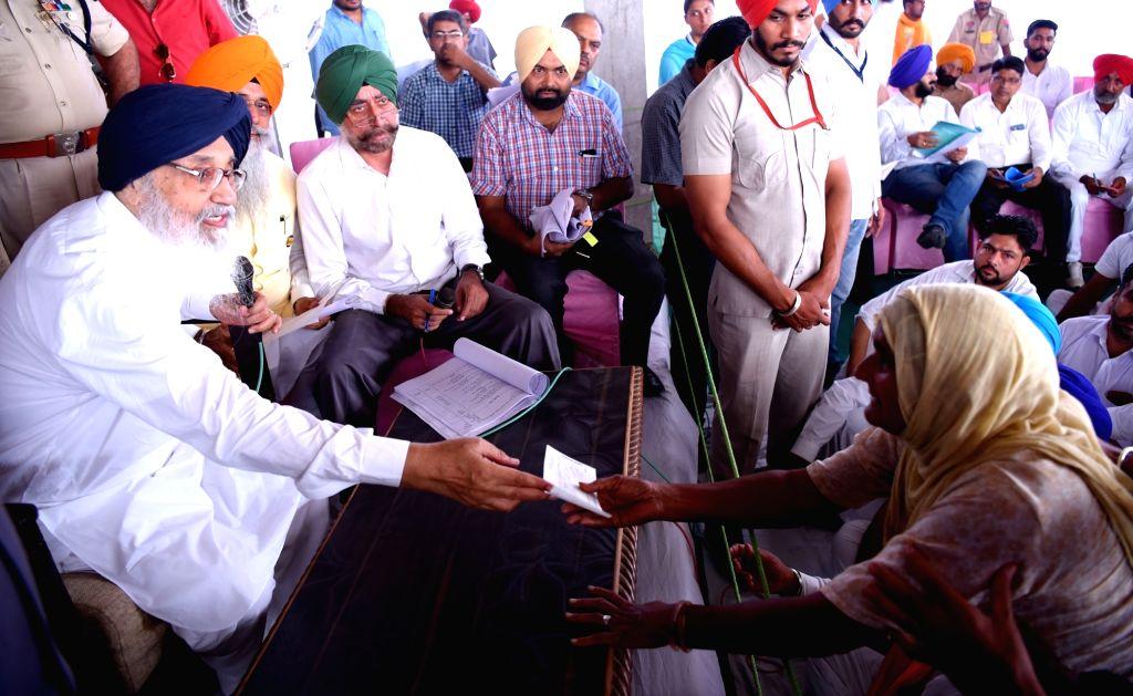 Punjab Chief Minister Parkash Singh Badal during a Sangat  Darshan programme at Lambi in Muktsar Sahib Assembly constituency of Punjab on Oct 9, 2016. - Parkash Singh Badal