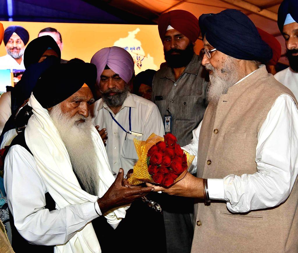 Punjab Chief Minister Parkash Singh Badal during semi-centennial celebrations of Punjabi Suba in Amritsar, on Nov 1, 2016. - Parkash Singh Badal