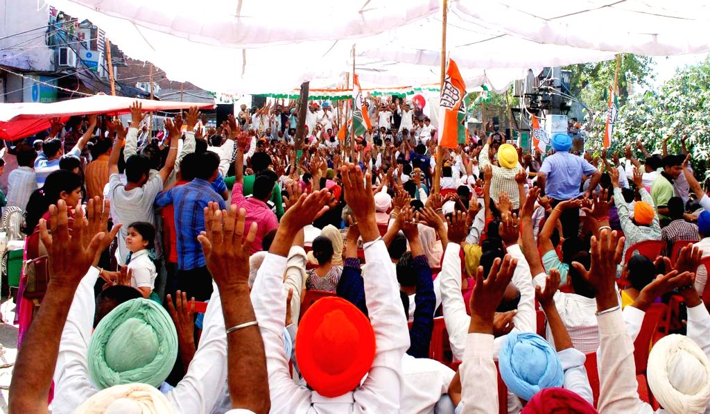 Punjab Congress chief and party's candidate from Gurdaspur Lok Sabha seat, Partap Singh Bajwa during an election campaign in Pathankot of Punjab on April 28, 2014. - Partap Singh Bajwa