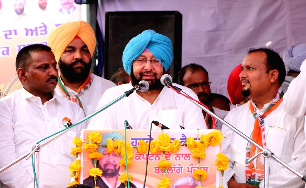 Punjab Congress chief Captain Amarinder Singh addresses during a party rally in Ajnala near Amritsar on Sept 17, 2016. - Amarinder Singh