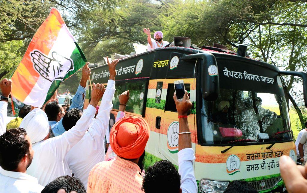 Punjab Congress chief Captain Amarinder Singh during an election campaign ahead of Punjab assembly polls in Muktsar of Punjab on Oct 19, 2016. - Amarinder Singh