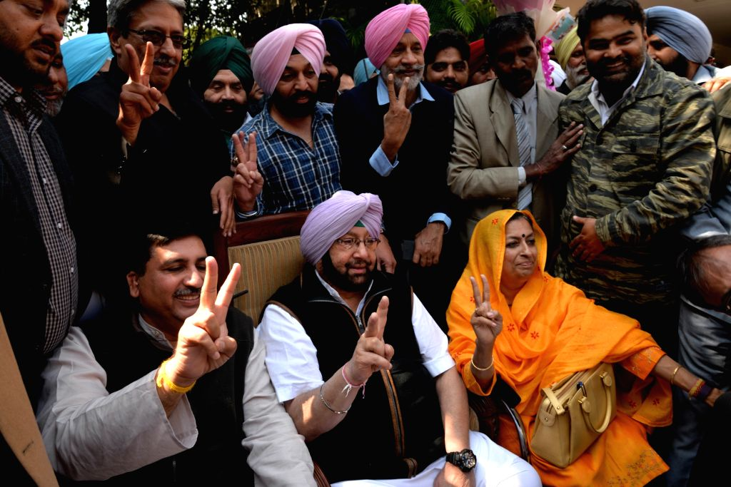 Punjab Congress chief Captain Amarinder Singh addresses a press conference regarding party's performance in the Punjab assembly elections in Chandigarh on March 11, 2017. - Amarinder Singh