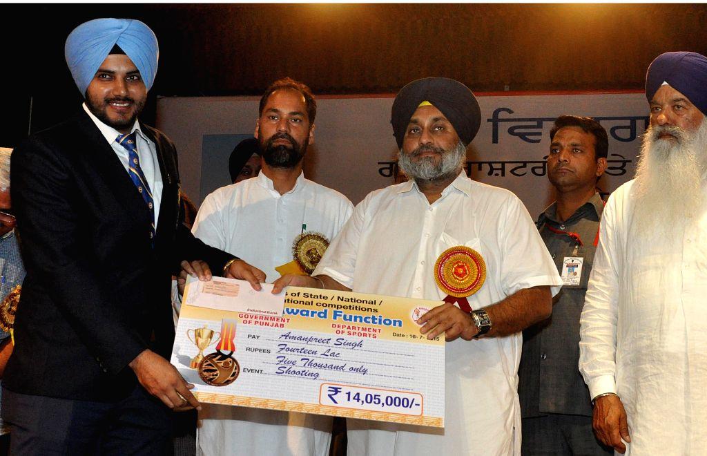 Punjab Deputy Chief Minister Sukhbir Singh Badal during a award ceremony at a Punjab University in Phagwara, Jalandhar on July 16, 2015.
