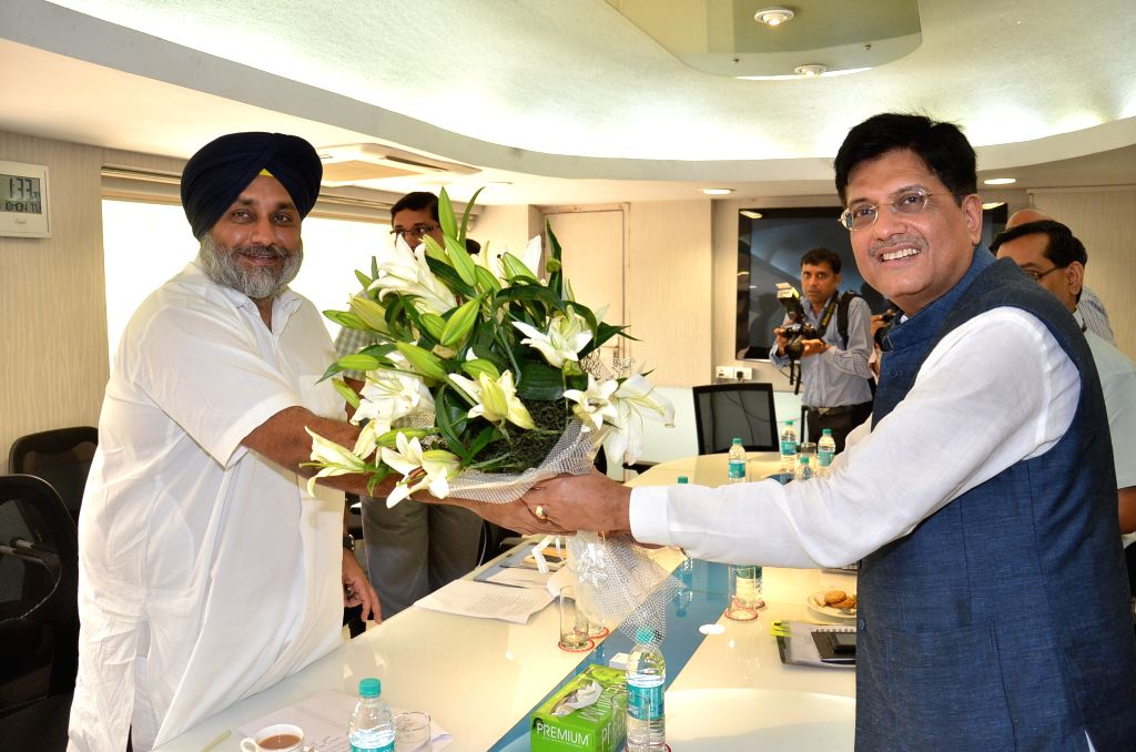 Punjab Deputy Chief Minister Sukhbir Singh Badal calls on the Minister of State (Independent Charge) for Power, Coal and New and Renewable Energy Piyush Goyal, in New Delhi on August 10, ... - Sukhbir Singh Badal