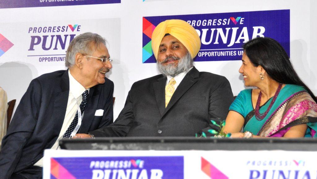 Punjab Deputy Chief Minister Sukhbir Singh Badal during Progressive Punjab Summit in Mohali on Oct 28, 2015. - Sukhbir Singh Badal