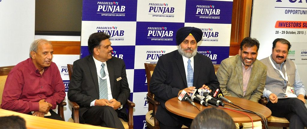 Punjab Deputy Chief Minister Sukhbir Singh Badal during Progressive Punjab Investors Summit 2015 in Mohali on Oct 29, 2015. - Sukhbir Singh Badal