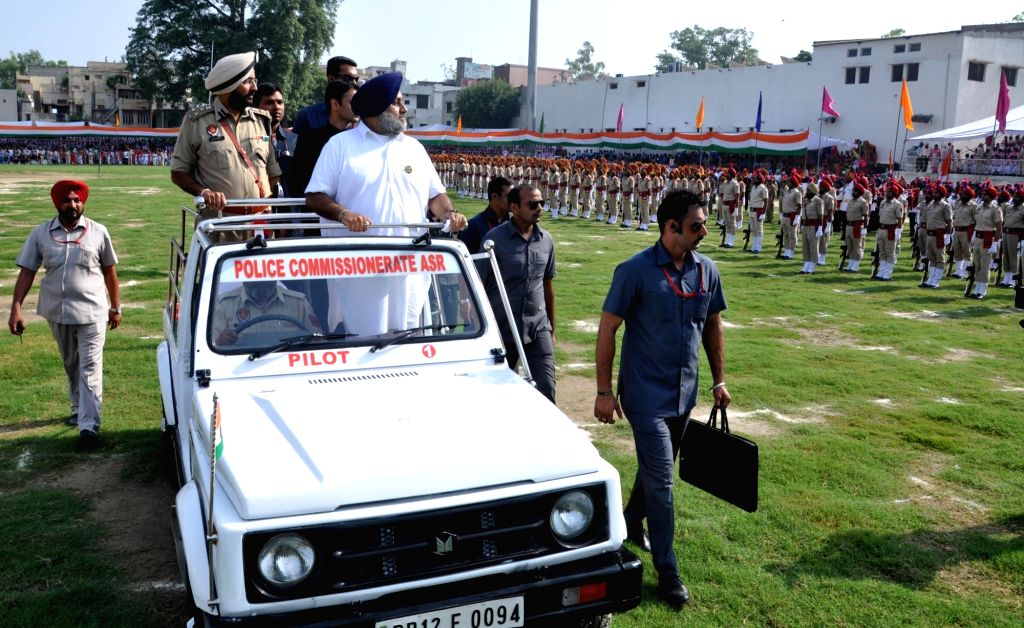 "Punjab Deputy Chief Minister Sukhbir Singh Badal inspect the guard of honor on the occasion of 70th ""Independence Day"" celebration in Amritsar on Aug 15, 2016. - Sukhbir Singh Badal"