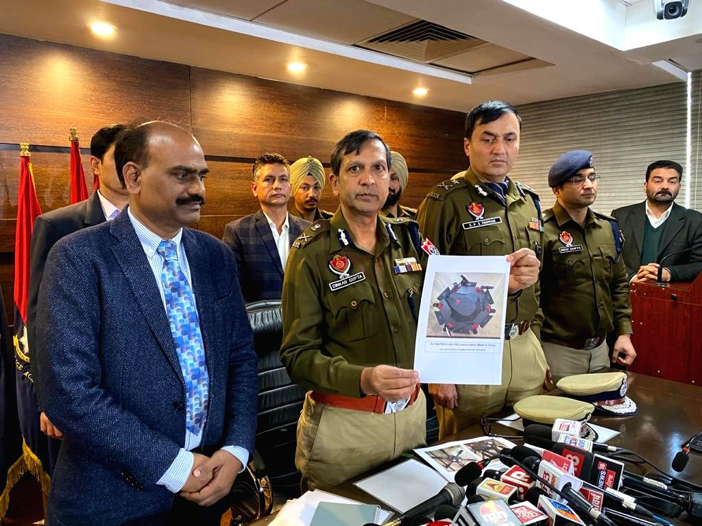 Punjab Director General of Police (DGP) Dinkar Gupta addresses a press conference after the Punjab Police seized two highly sophisticated Chinese-made drones and arrested an Army man and ... - Dinkar Gupta