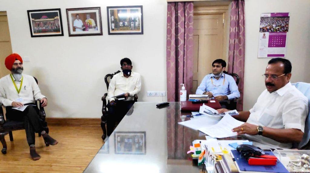 Punjab Finance Minister Manpreet Singh Badal meets Union Chemicals and Fertilizers Minister D.V. Sadananda Gowda, in New Delhi on July 13, 2020. - Manpreet Singh Badal