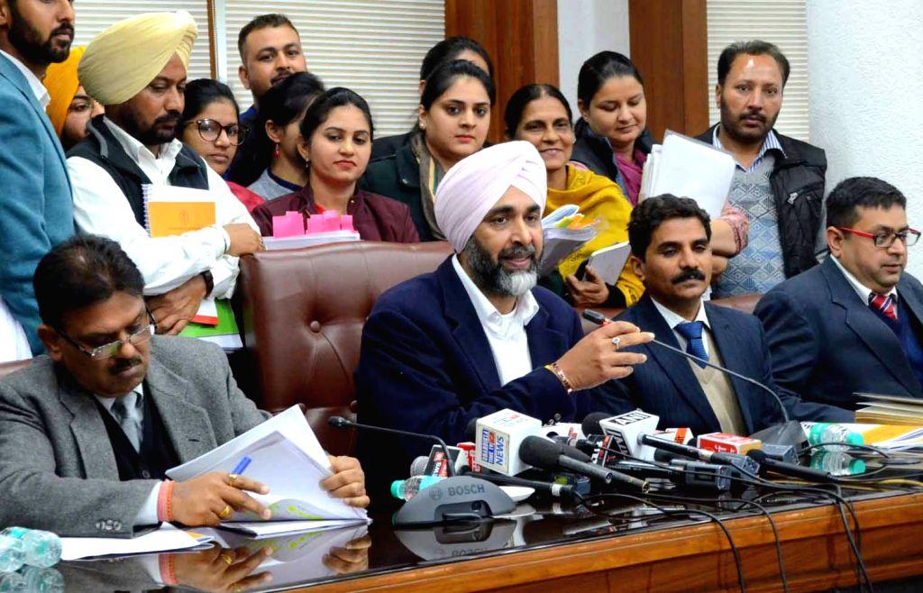 Punjab Finance Minister Manpreet Singh Badal addresses a press conference in Chandigarh on Feb 18, 2019. - Manpreet Singh Badal