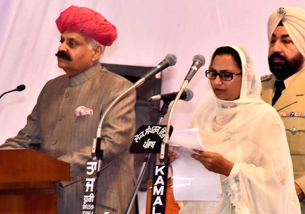 Punjab Governor VP Singh administer the oath to Razia Sultana as State cabinet minister during the swearing in ceremony in Chandigarh, on March 16, 2017.