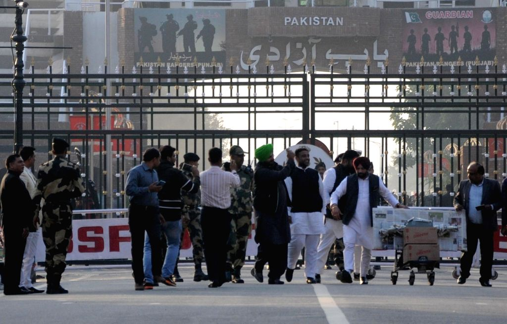 Punjab Minister and Congress leader Navjot Singh Sidhu who returned back to India after attending the ground breaking ceremony of the Kartarpur Corridor seen shadowing at Attri-Wagha border, ... - Navjot Singh Sidhu